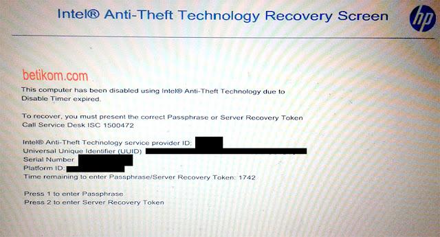 Cara Membuka Intel Anti Theft