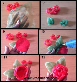 Tutorial aksesoris mawar indah dari bahan kain perca part 2