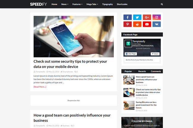 Speedify - Premium Blogger Template