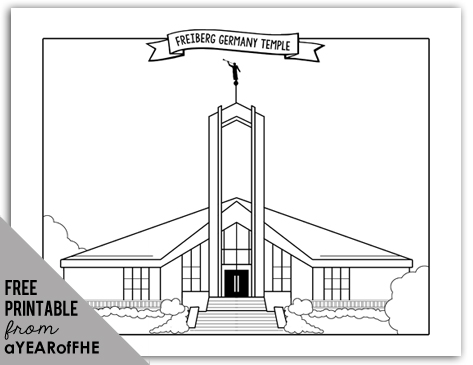 Coloring page of the Freiberg LDS Temple by A Year of FHE. #lds #temple #coloring