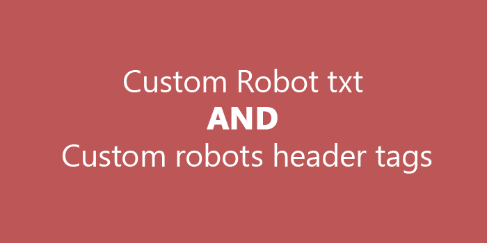 Blogger Custom Robot txt and Custom robots header tags