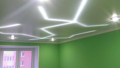 stretch ceiling with inside ceiling LED strip lighting