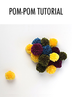 How to make pom poms using cardboard, yarn, & scissors