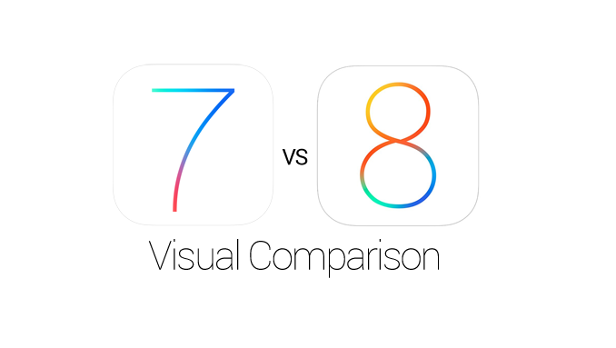 Apple iOS 8 vs iOS 7 Features, Icons, UI Elements Visual Comparison