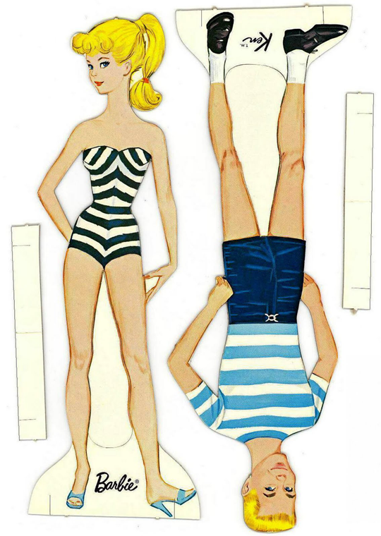 Vibrant image with printable barbie paper dolls