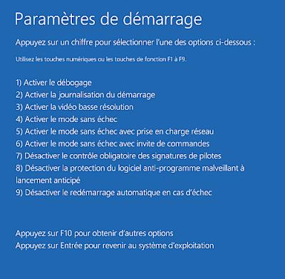 paramètre de windows 10 avancées F7