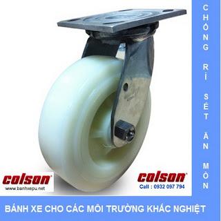 Bánh xe đẩy hàng Nylon càng bánh xe inox 304 | 4-8499-824 www.banhxepu.net