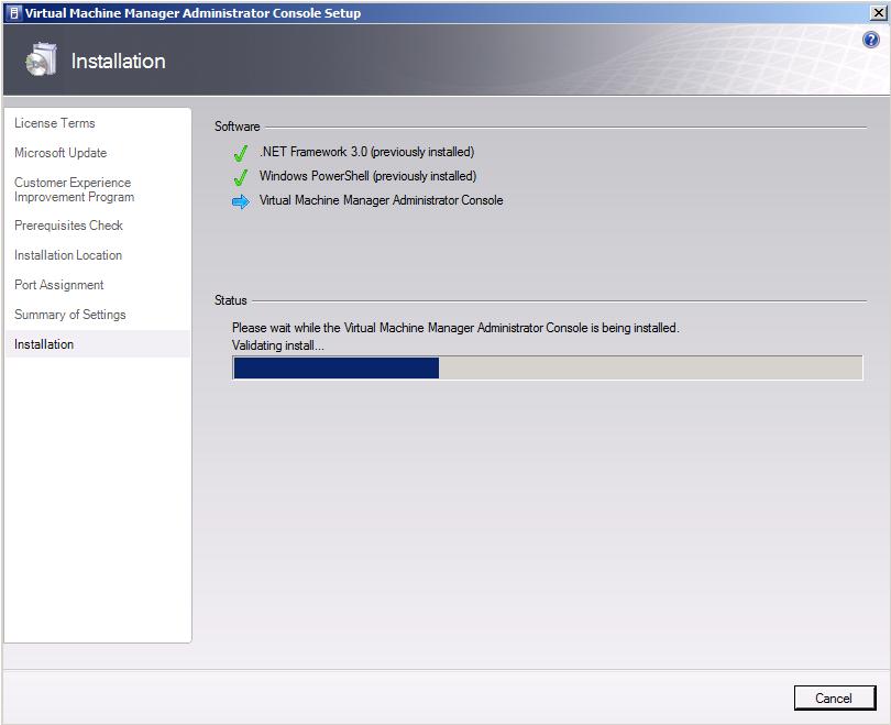 Instalação do System Center Virtual Machine Manager Console