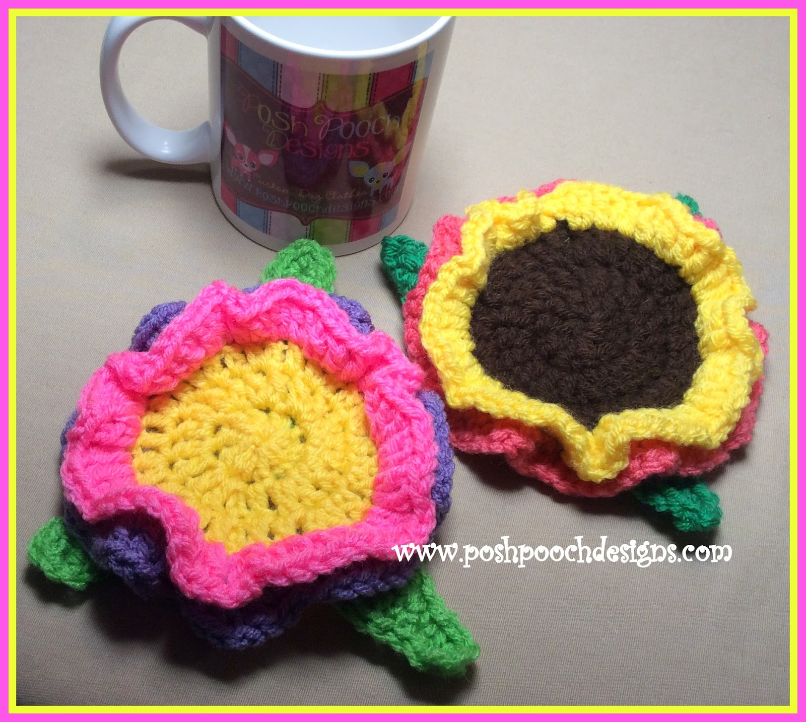 Posh Pooch Designs Dog Clothes: Spring Flower Coaster - Free Crochet ...