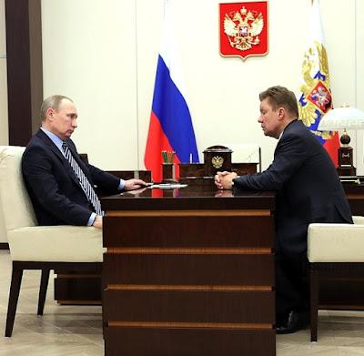 Vladimir Putin and Gazprom CEO Alexei Miller.