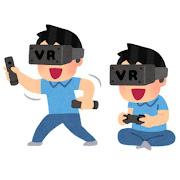 VRゲームをプレイする人のイラスト
