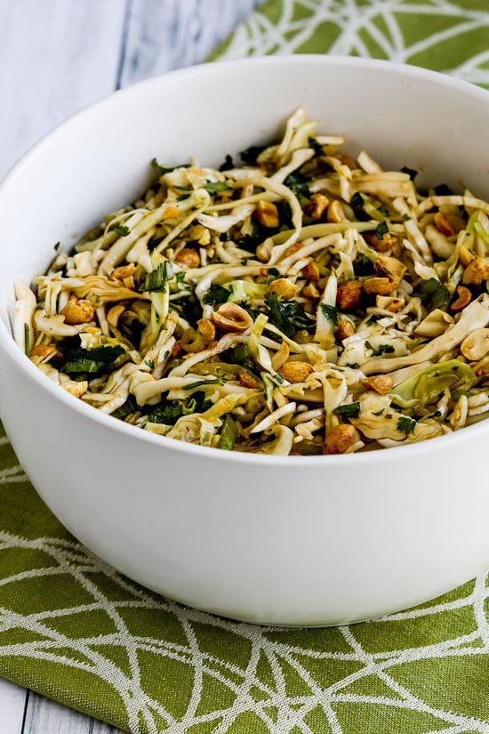 Low-Carb Spicy Cilantro-Peanut Slaw found on KalynsKitchen.com
