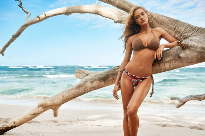 Hannah Ferguson poses for KikiRio's spring 2017 swimwear collection