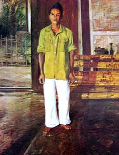 """Potret Seorang Tetangga"" by S.Sudjojono, Medium: Oil on Canvas, Size: 120,5cm x 151cm, Year: 1950 *) Koleksi Bung Karno"