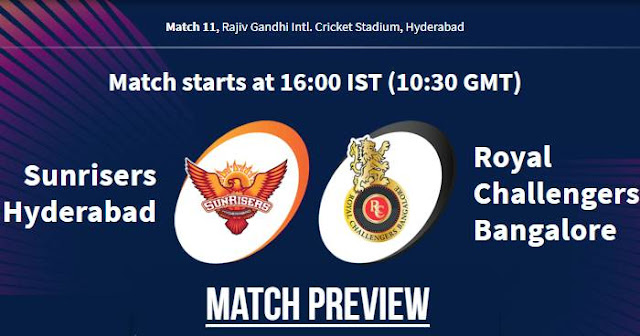 VIVO IPL 2019 Match 11 SRH vs RCB Match Preview, Head to Head and Trivia