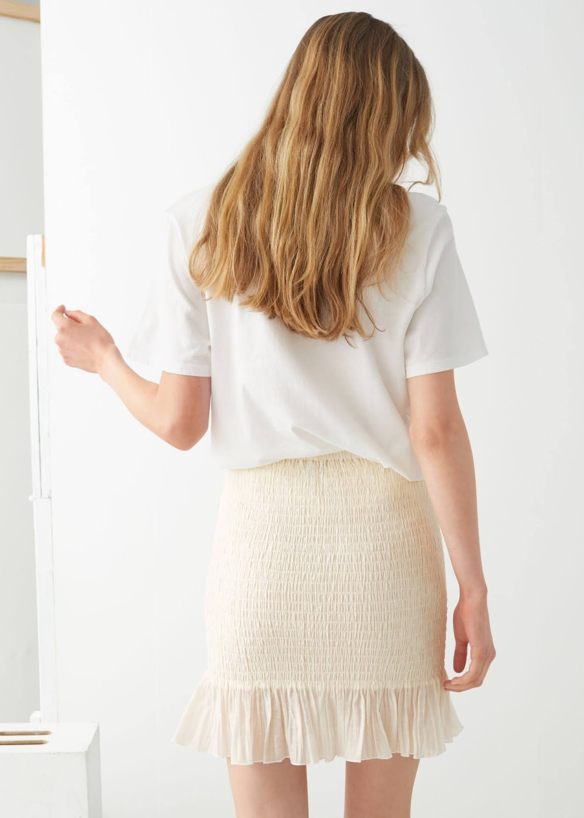 Summer Outfit: White Tee and Under-$100 Mini Skirt With Ruffled Hem