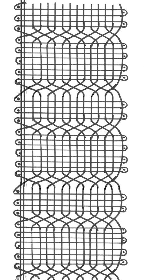 esquema o picado de puntilla número 3 de encaje bolillos