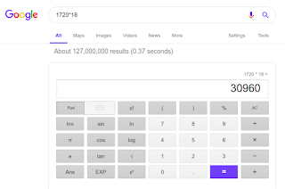 اجراء الحسابات الرياضية والمعادلات من خلال بحث جوجل