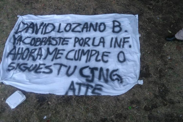 """""""DAVID LOZANO B. YA COBRASTE POR LA INF. AHORA ME CUMPLE O SIGUES TU CJNG ATTE"""" MEXICALI"""