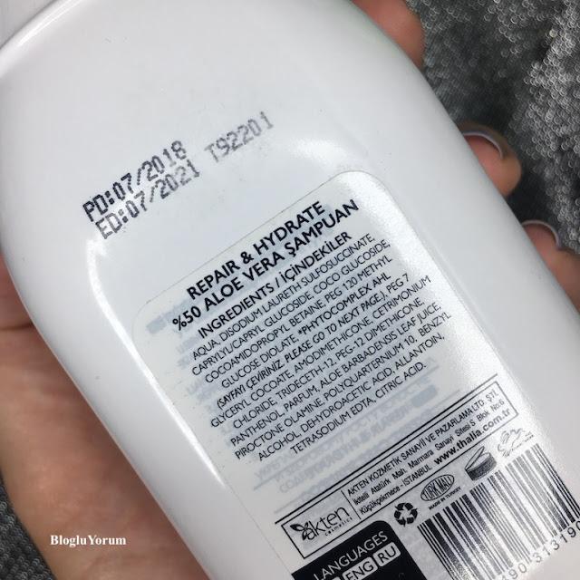 Thalia Natural Aloe Vera Onarıcı ve Nemlendirici Bakım Şampuan içerik
