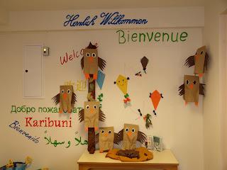 Gebastelte Eulen für den Herbst im Kindergarten
