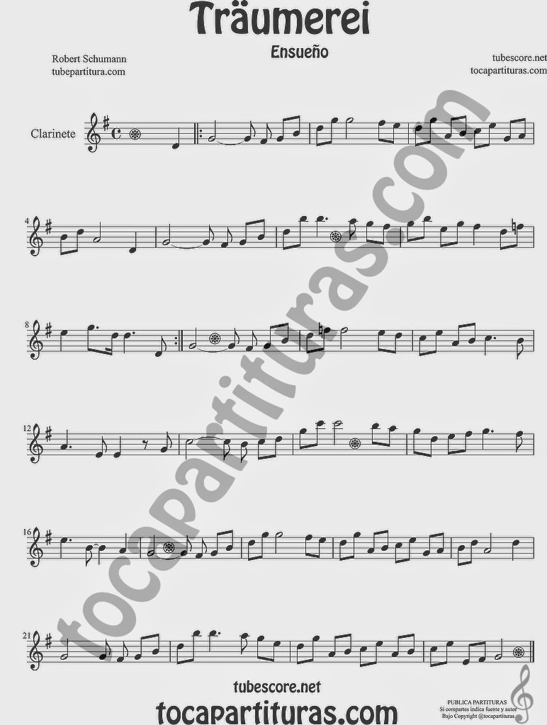 Traumerei Partitura de Clarinete Sheet Music for Clarinet Music Score by Robert Schumann