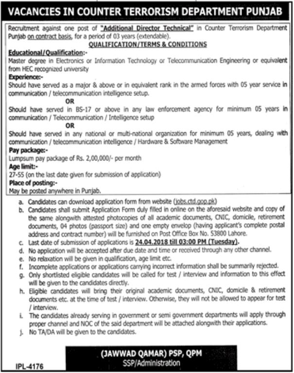 Counter Terrorism Department CTD Punjab Jobs 2018