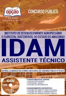 Baixar Apostila Concurso IDAM 2019 PDF Download