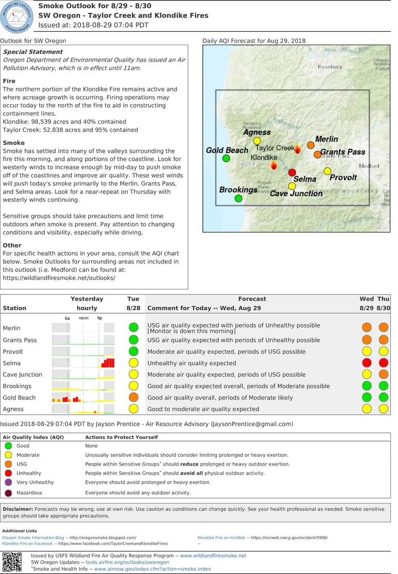 smoke outlook update for southwest oregon taylor creek and klondike fires for wednesday and thursday aug 29 30 2018