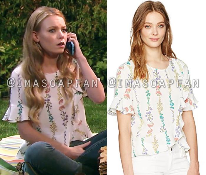 Nelle Hayes, Chloe Lanier, Ruffled Wildflower Print Top, General Hospital, GH
