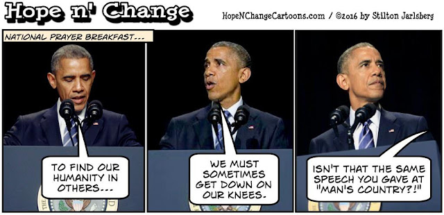 obama, obama jokes, political, humor, cartoon, conservative, hope n' change, hope and change, stilton jarlsberg, prayer breakfast, islam, terror, mosque, jeremiah wright