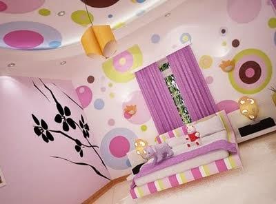 dormitorio morado meninas quarto e sala
