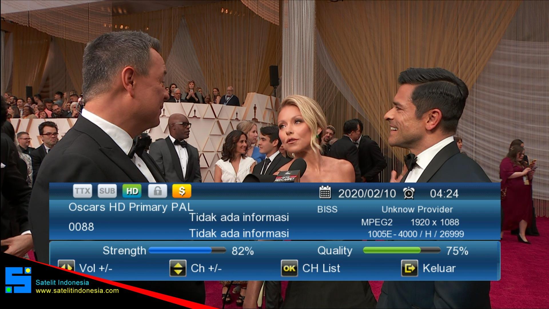 Frekuensi siaran Oscars HD Primary PAL di satelit  Terbaru