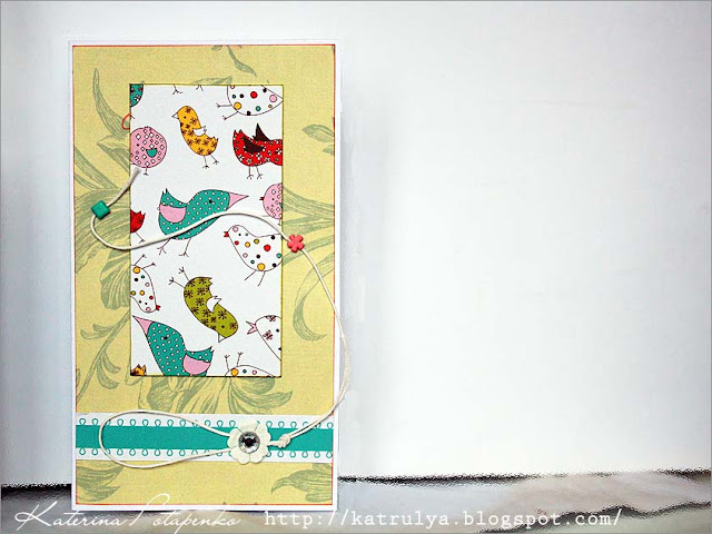 открытка с птицами, в стиле скрапбукинг, Postcard from the birds, in the style of scrapbooking