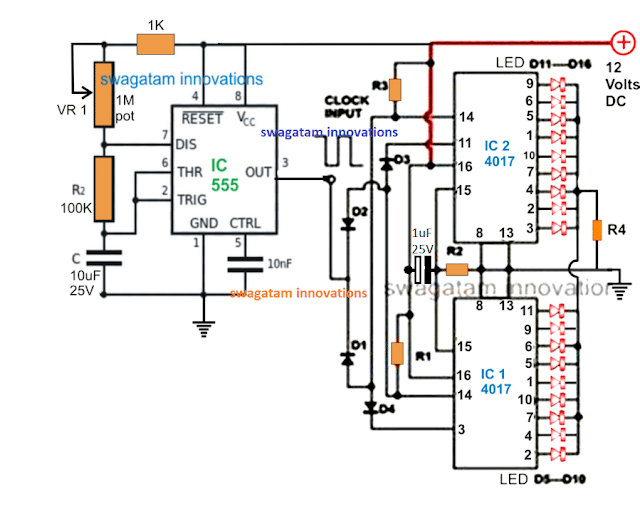 18 LED chaser circuit with 2 cascaded IC 4017 and IC 555