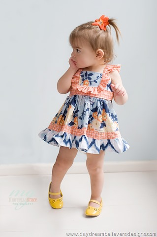 Vintage Style Baby Doll length ruffle twirl dress for girls by Daydream Believers Designs