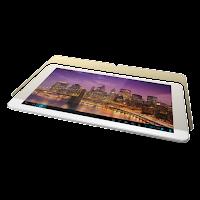 Tablet blanca con una pantalla reticare y una imagen de una ciudad iluminada en su pantalla.