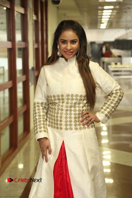 Telugu Actress Sri Reddy Mallidi Stills in White Beautiful Dress at Marriage Needs Bridal Fashion Week 2017 Logo Launch  0001.JPG