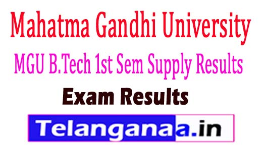 MGU B.Tech 1st Sem Supply Results 2018