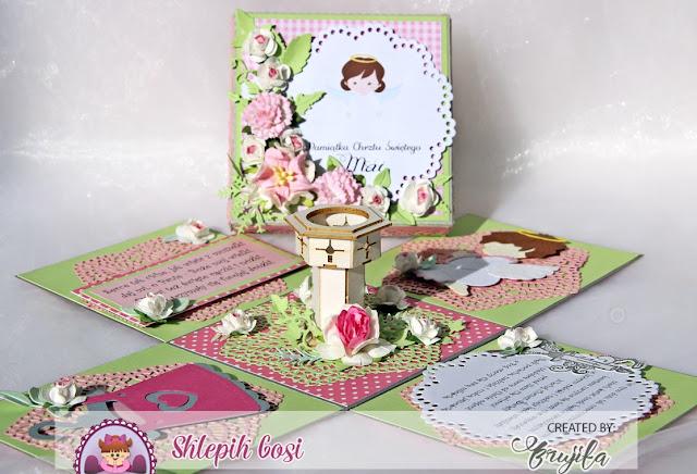 Sklepik Gosi, exploding box, chrzest, dla dziewczynki, prezent na chrzest, różowy box, tekturka chrzcielnica inspiracje, różowy exploding box