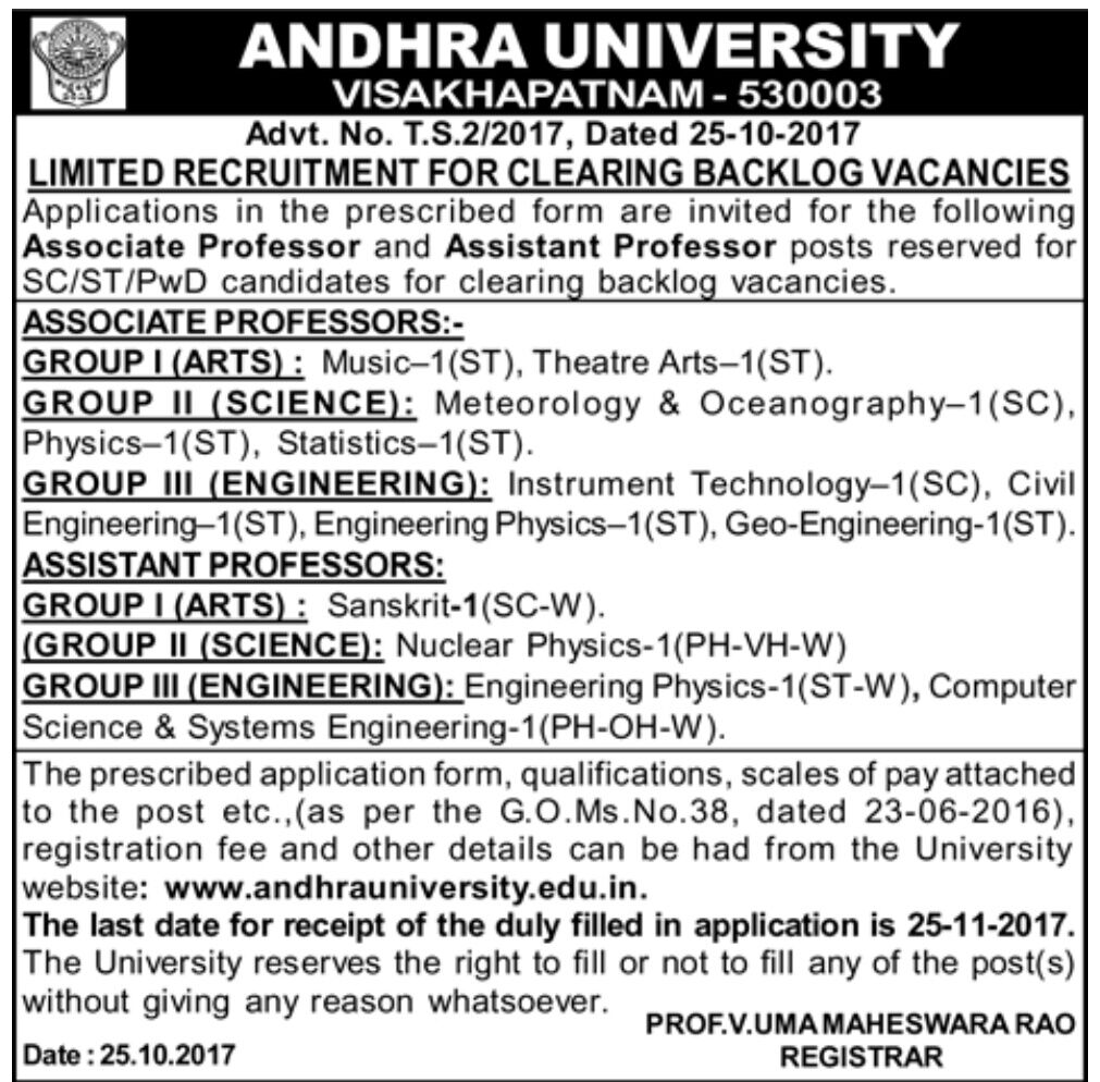 Andhra University Backlog Vacancies for Associate and Assistant Professor Notification
