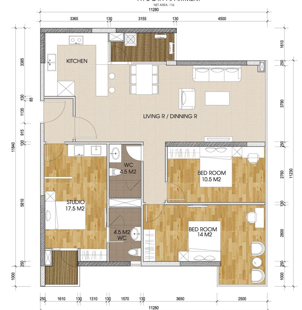 Mặt bằng căn 3 phòng ngủ chung cư The Two Gamuda