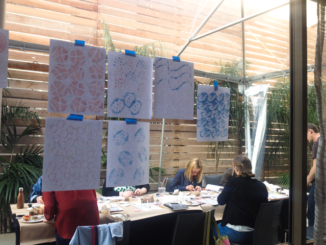 Surface printing workshop with Lotta Jansdotter | Printmaking Art Displayed | The Line Hotel | Poketo | Los Angeles California