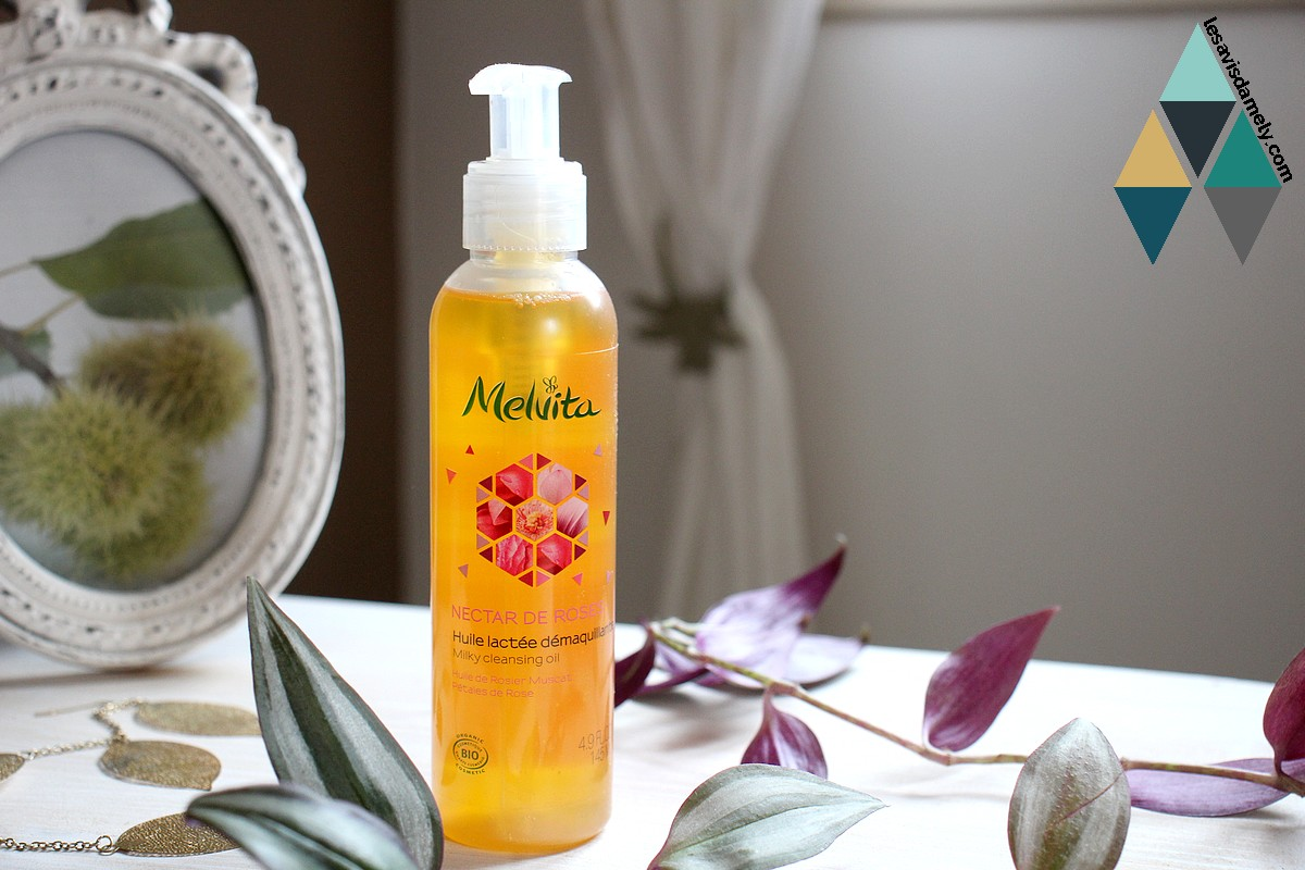 huile lactée démaquillante rose Melvita bio