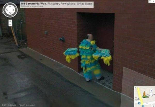 18 Hilariously Weird Moments Captured On Google Street View - This guy is going to a fancy dress competition!