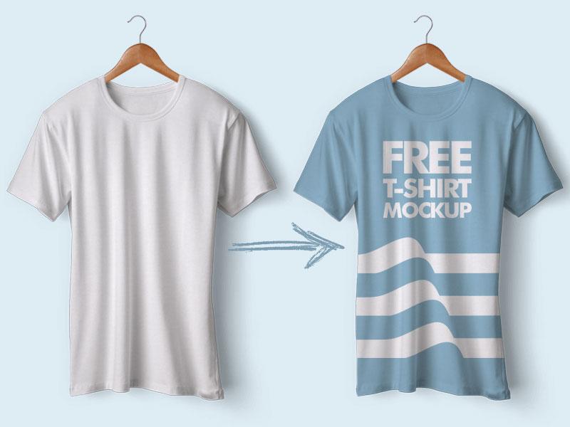 Realistic Hanging T-Shirt Mockup PSD