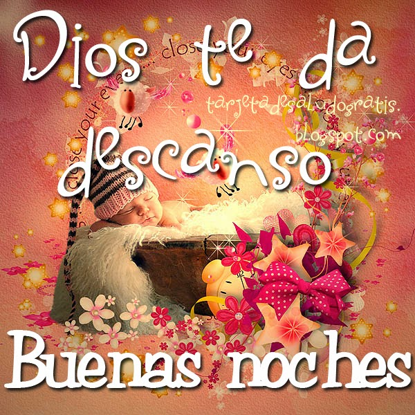 2 Tarjetas de Buenas noches Dios te da descanso