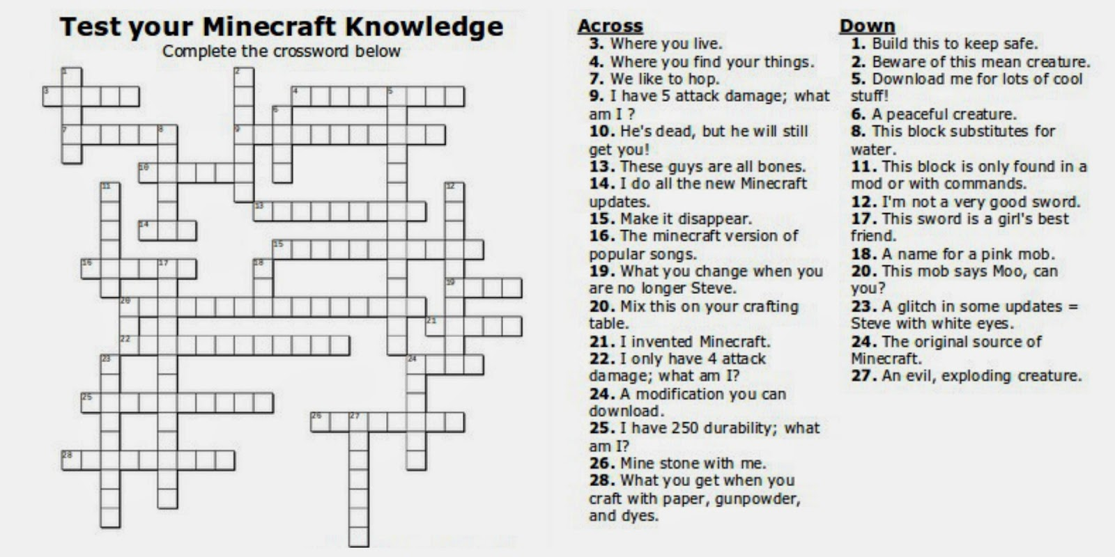 Printable Minecraft Crossword Puzzle