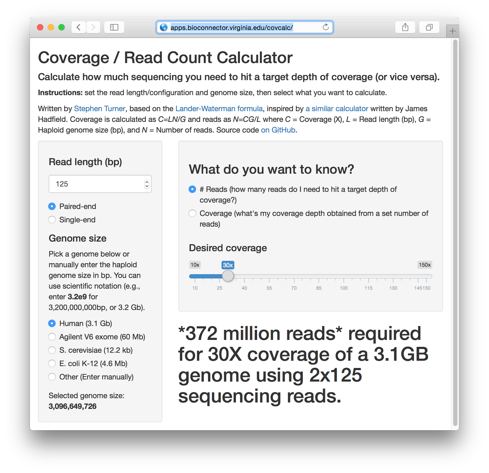 Covcalc Shiny App For Calculating Coverage Depth Or Read Counts For Sequencing Experiments