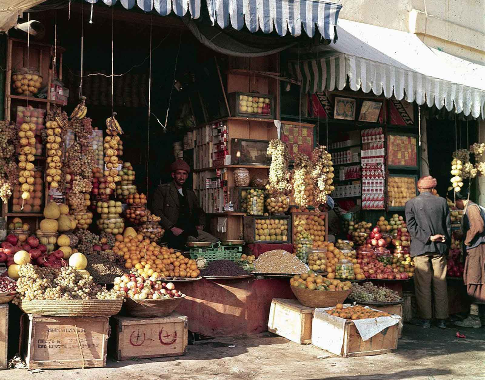 A shopfront display of fruits and nuts in Kabul, in November of 1961.